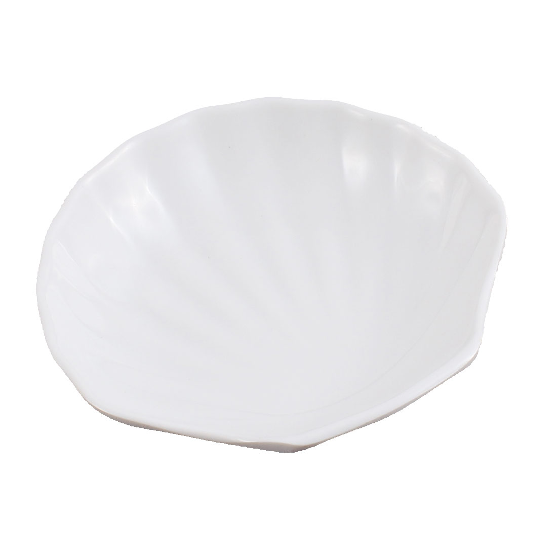 Seashell Shape Soy Sauce Dipping Mini Dish Plate 4 Inch Length White