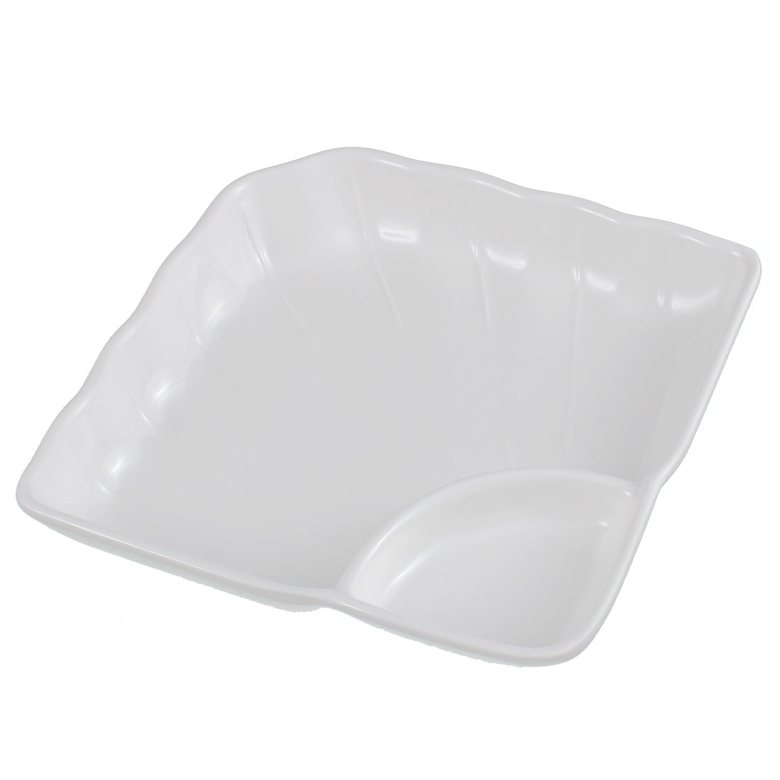Kitchen Restaurant Plastic 2 Compartments Food Sushi Fruit Plate Dish White