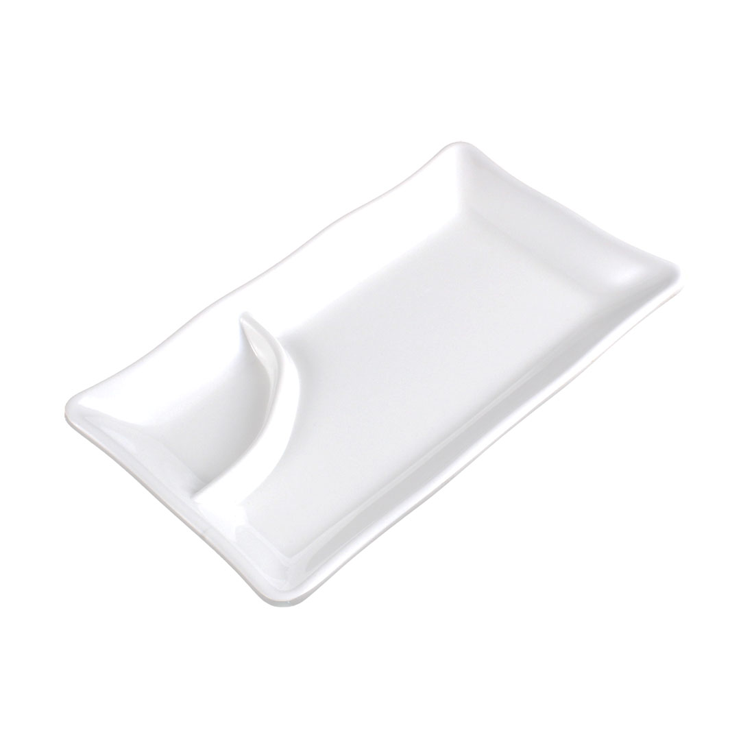 Home Plastic Rectangle Shaped 2 Compartments Food Sushi Plate Dish White