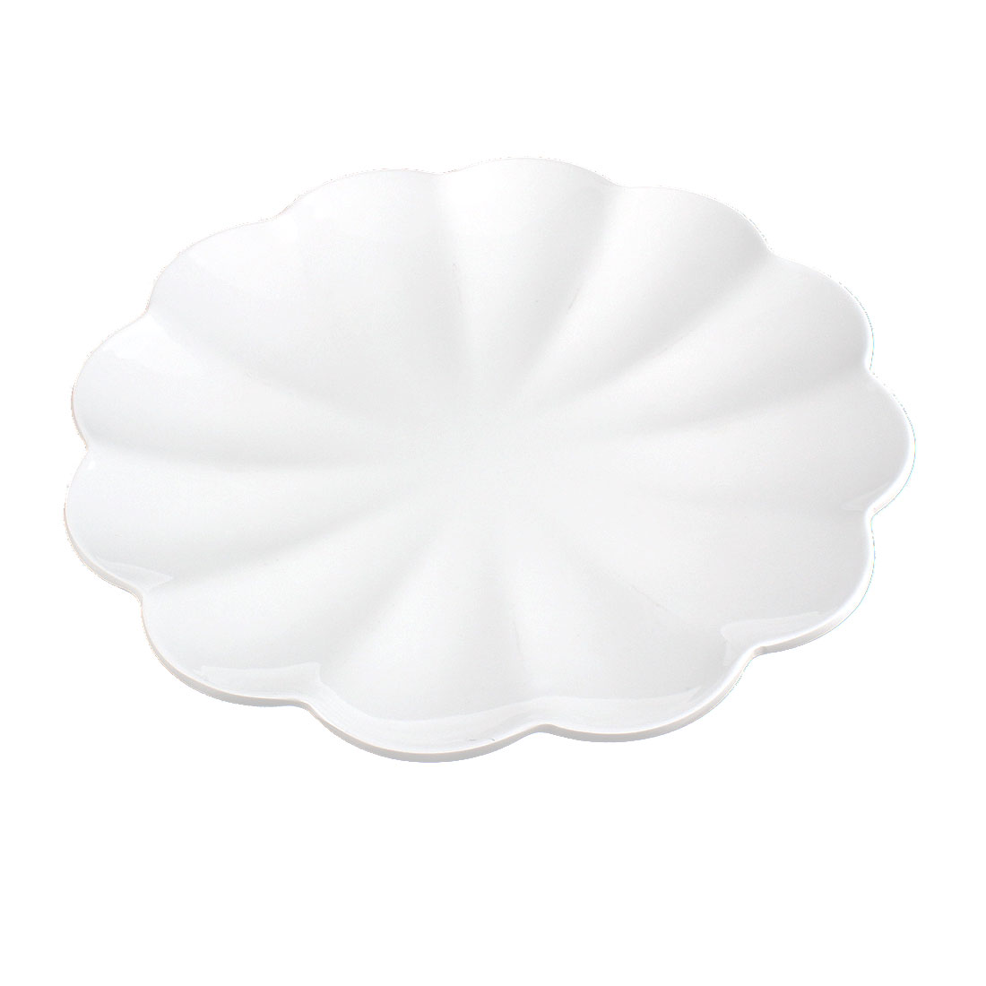 Home Restaurant Plastic Wavy Edge Lunch Food Dish Plate 10 Inch Dia