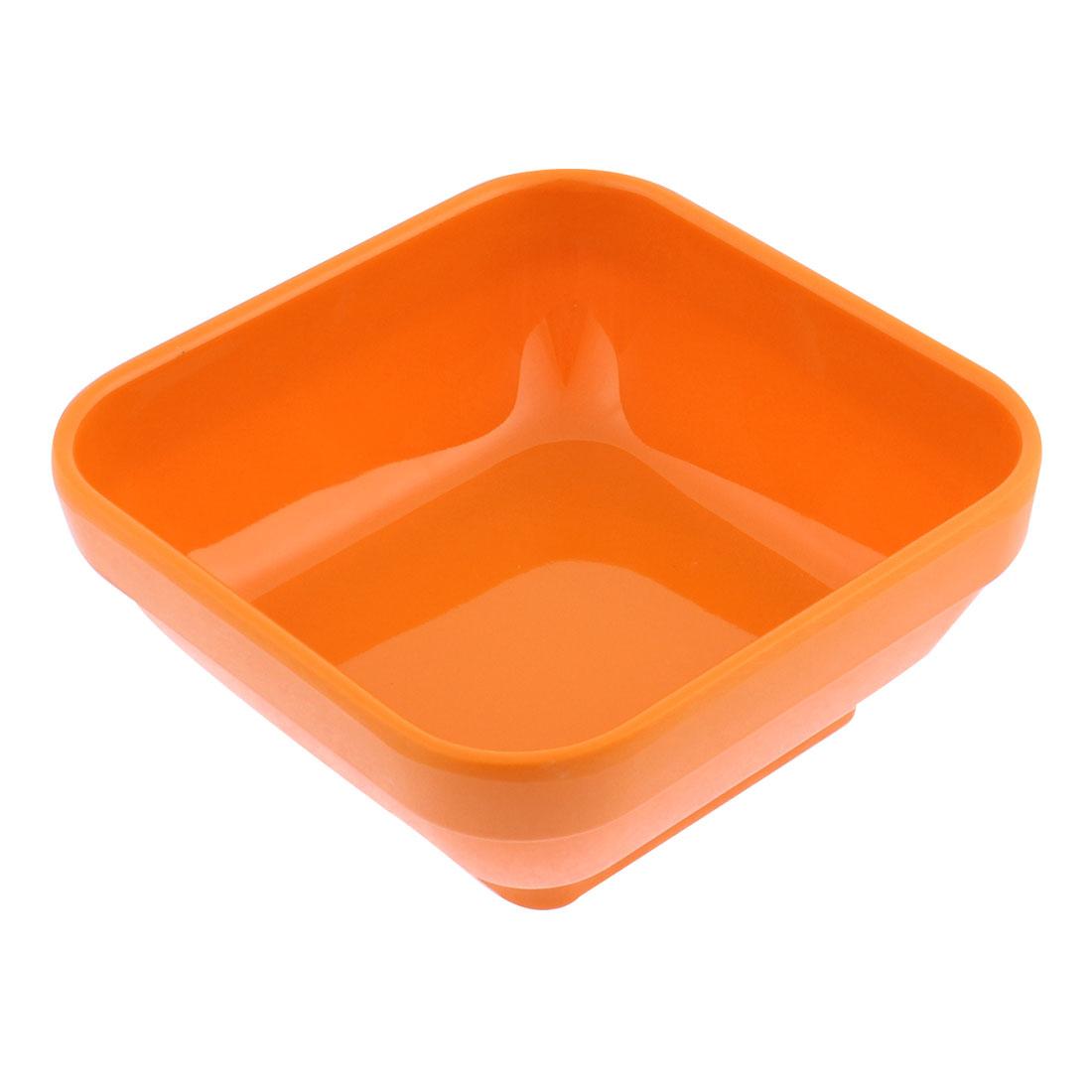 Plastic Square Shaped Dessert Food Soup Serving Bowl Orangered 12 x 12cm