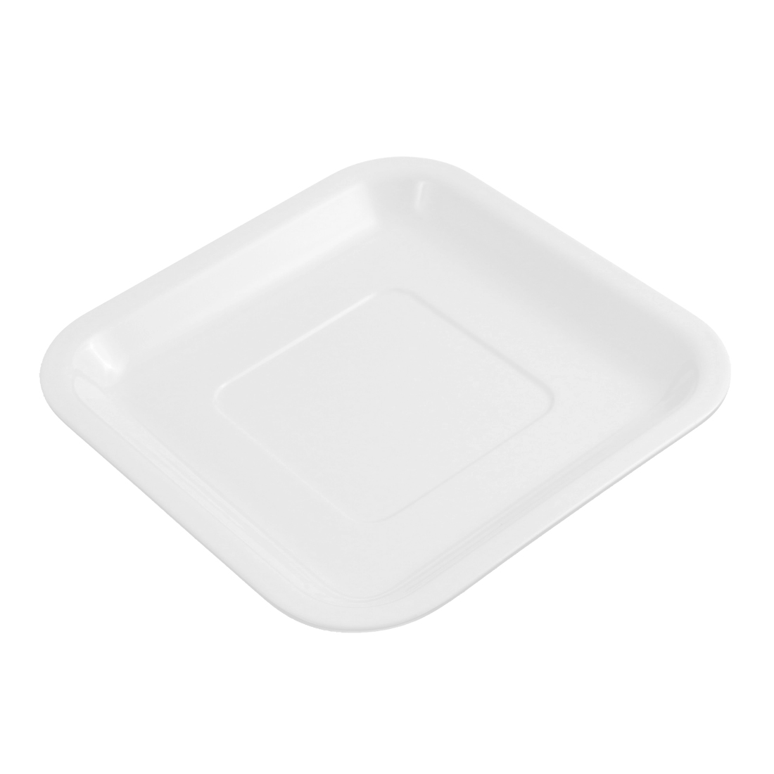 Plastic Square Dinner Food Dessert Plate Dish 6 Inch Length White