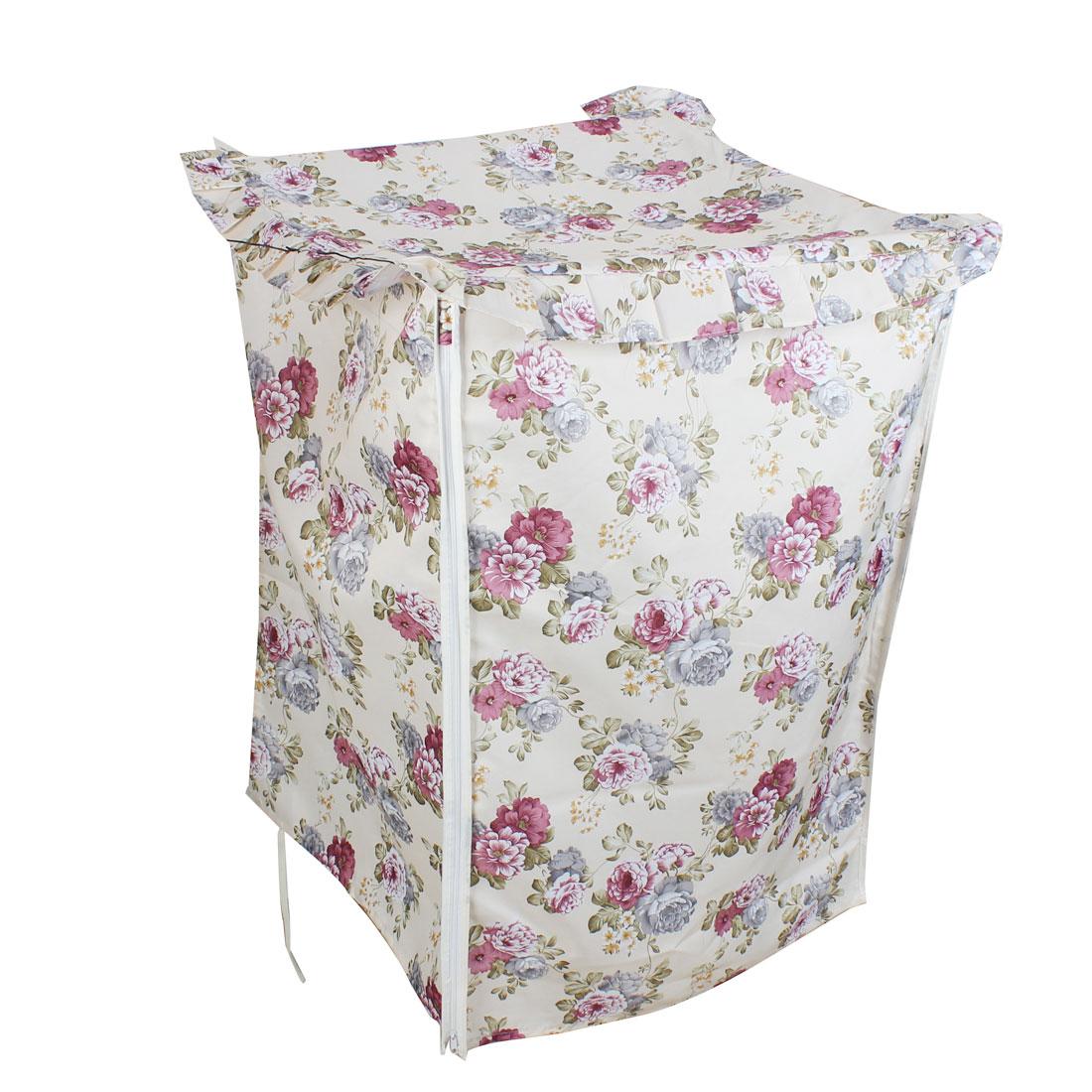 Polyester Chrysanthemum Print Zip Closure Washing Machine Dust Cover