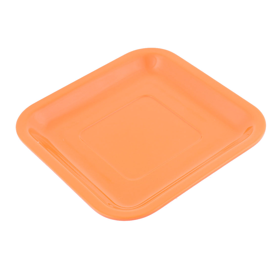 Restaurant Plastic Square Shaped Lunch Food Cake Dish Plate Container Orangered