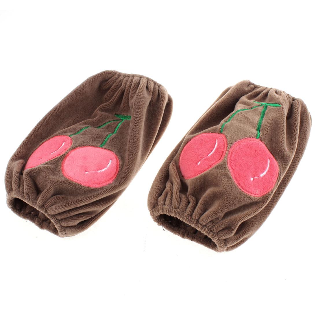 Housework Velvet Cherry Pattern Elastic Cuff Oversleeve Sleevelet Pair