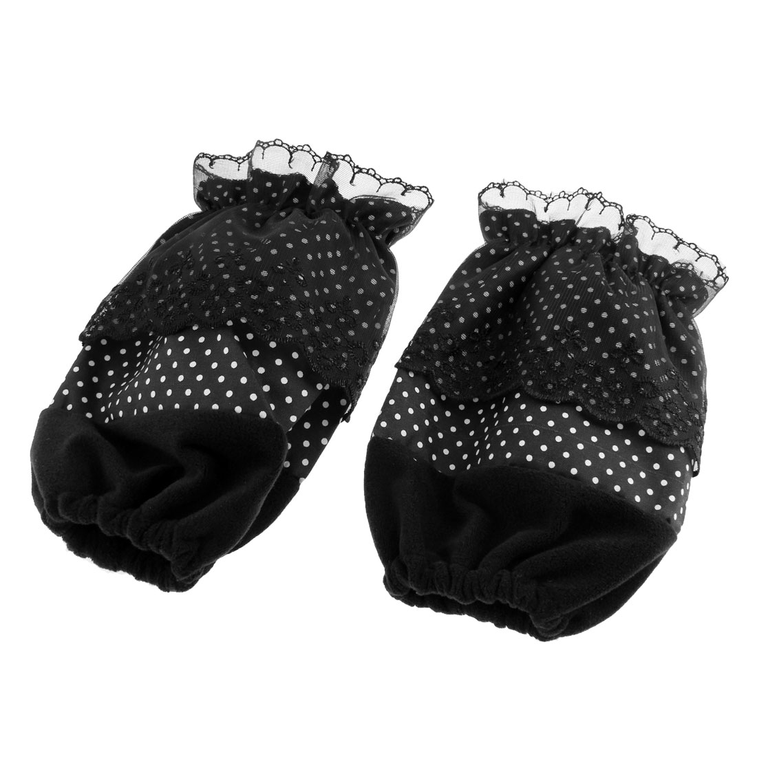 Lace Edge Dots Pattern Elastic Cuff Oversleeve Sleevelet Black Pair