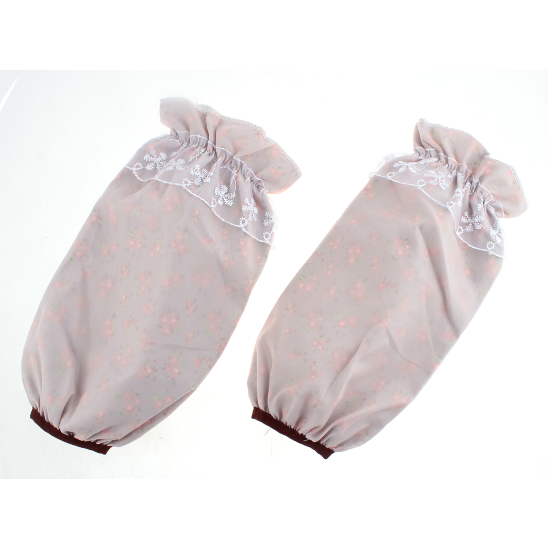 Polyester Flower Pattern Elastic Cuff Oversleeve Sleevelet Pair Gray