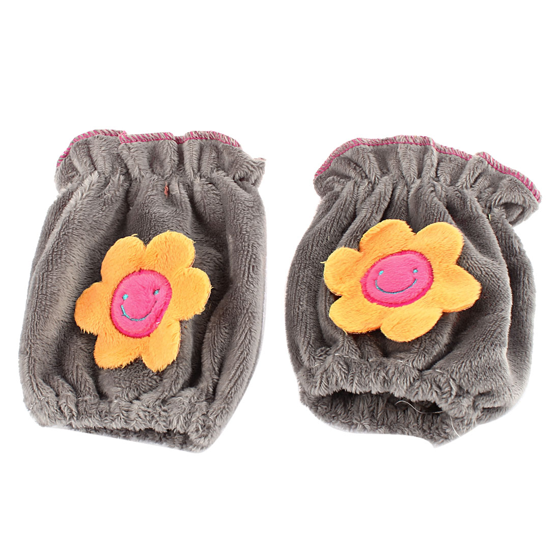 Velvet Sunflower Pattern Stretchy Cuff Oversleeve Sleevelet Gray Pair
