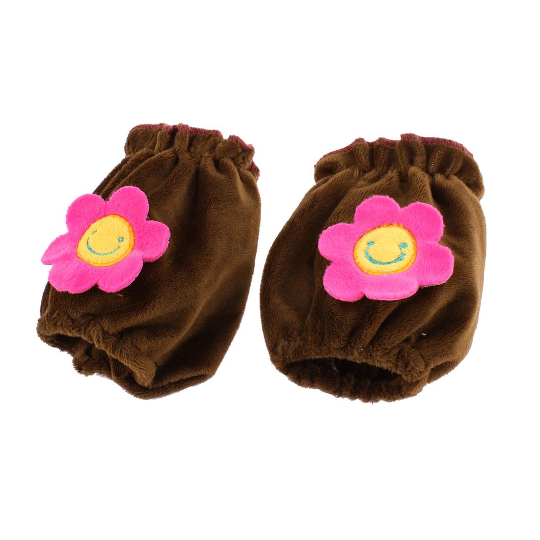 Velvet Sunflower Pattern Elastic Cuff Oversleeve Sleevelet Coffee Color Pair