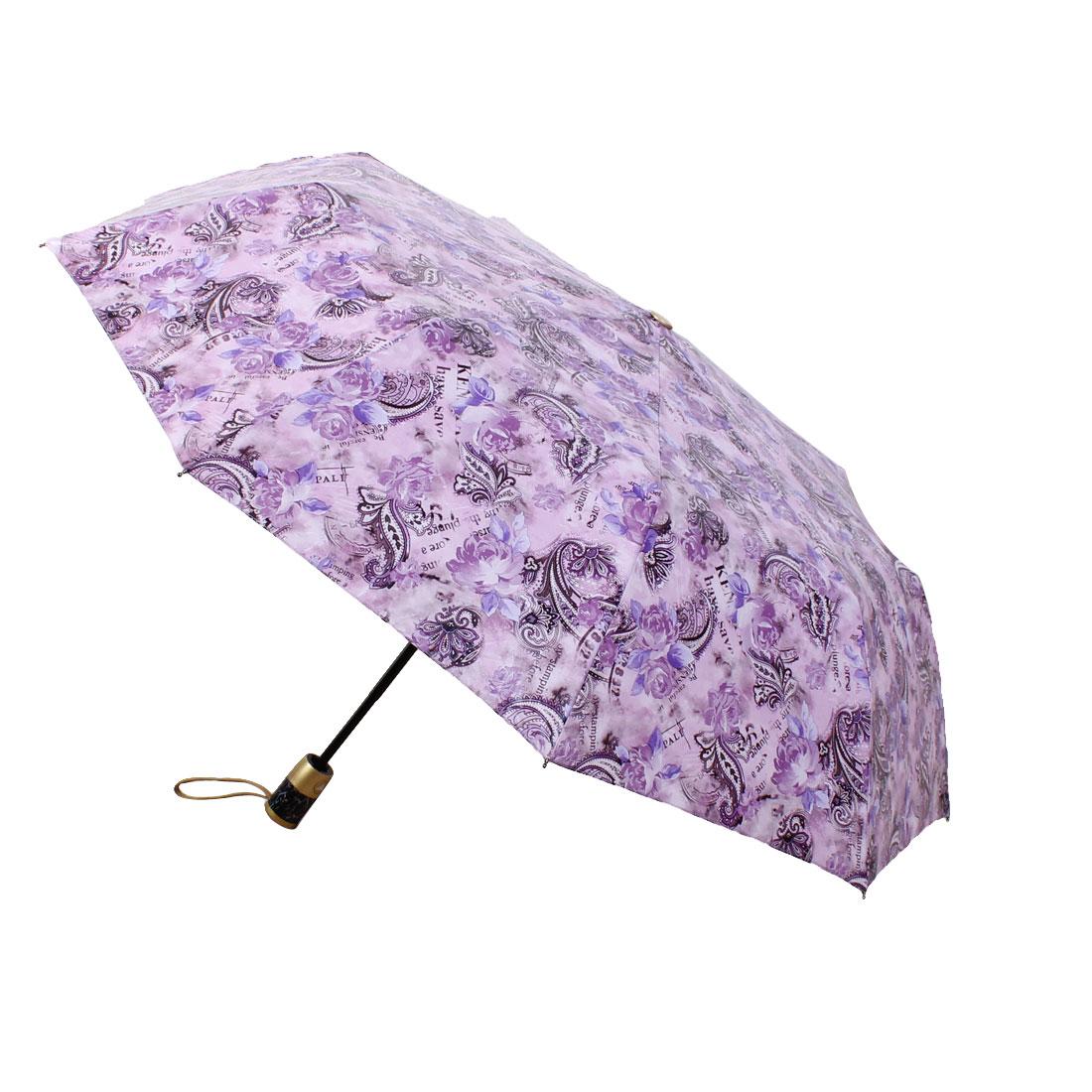 Automatic Open Close Folding Compact Rain Umbrella Purple
