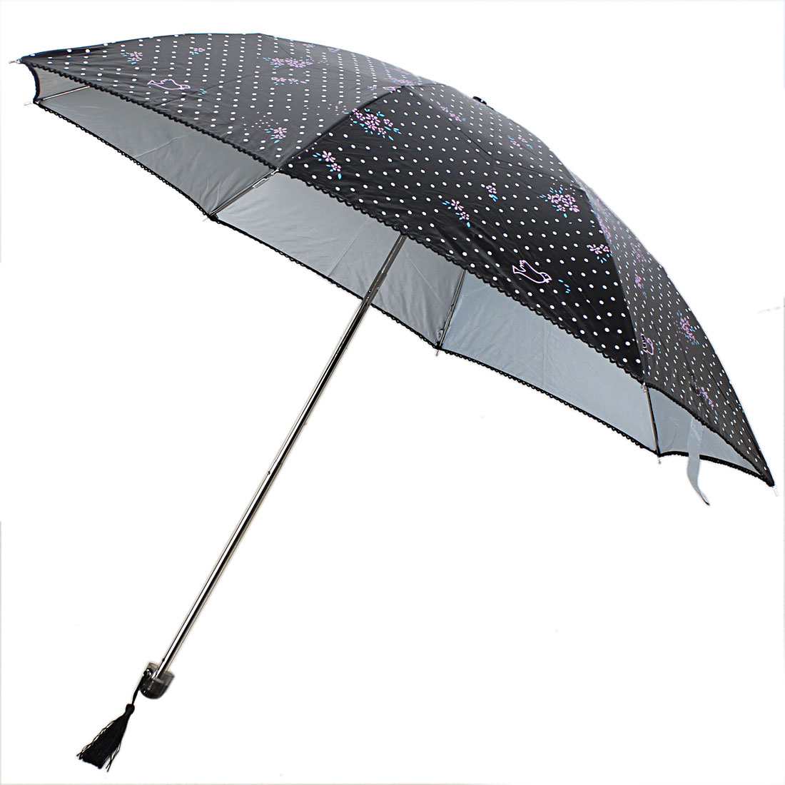 Outdoor Travel Dots Printed Telescopic Shaft Foldable Umbrella 33 Inch Dia
