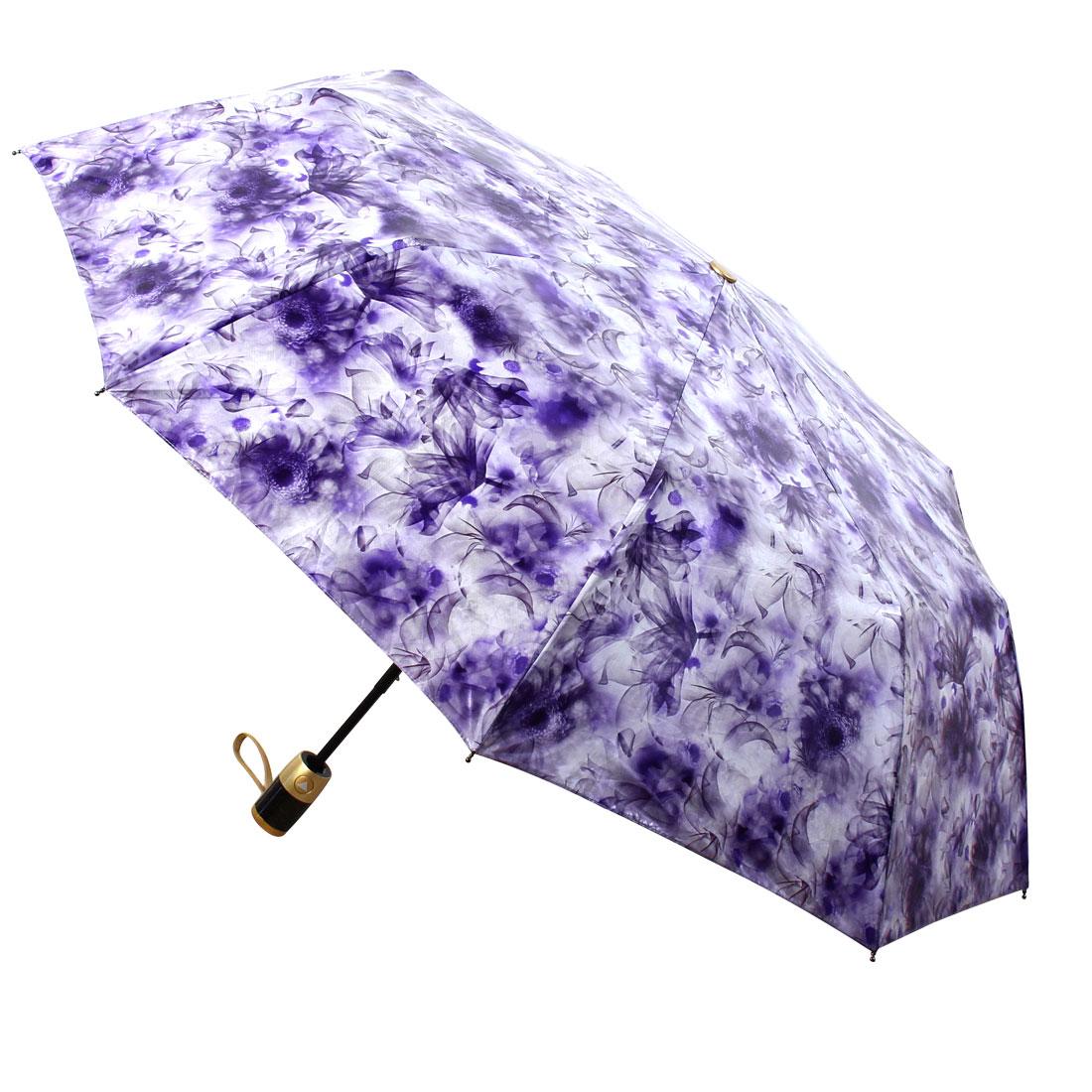 Automatic Open Close Folding Compact Rain Umbrella 38 Inch Purple