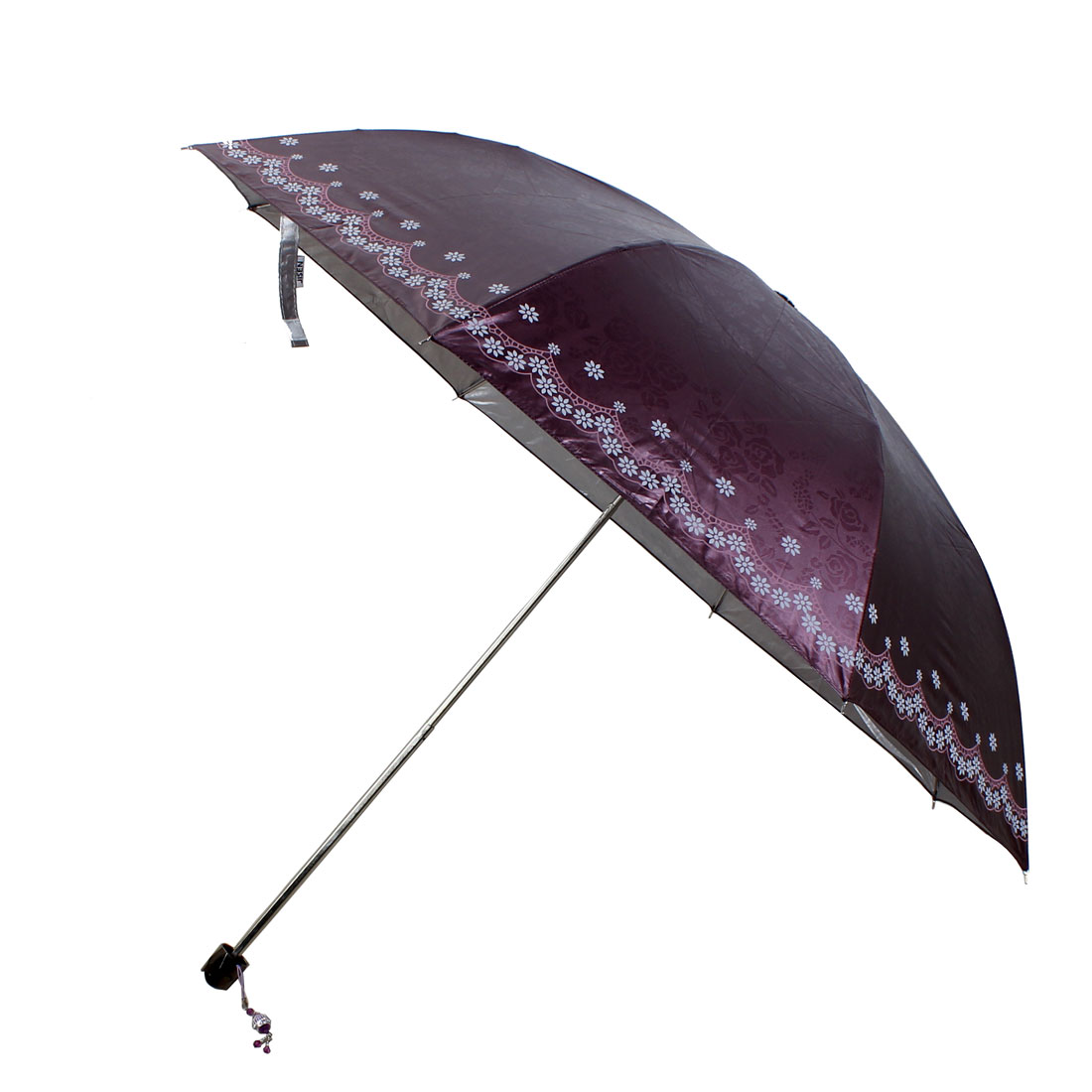 Floral Printed Telescopic Shaft Foldable Umbrella 85cm Dia Purple