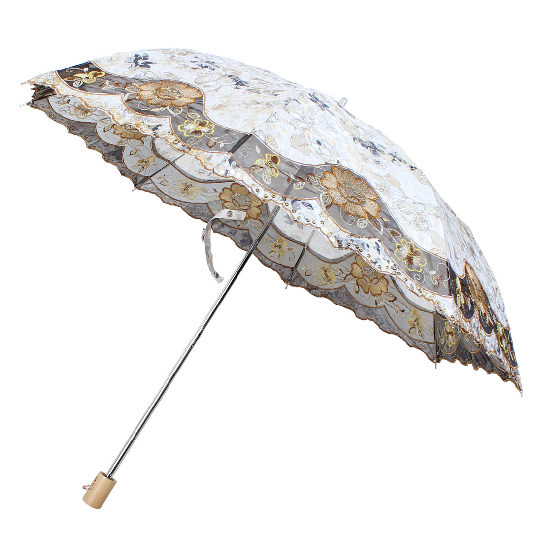 Outdoor Embroidery Flower Pattern Telescopic Shaft Umbrella 85cm Dia