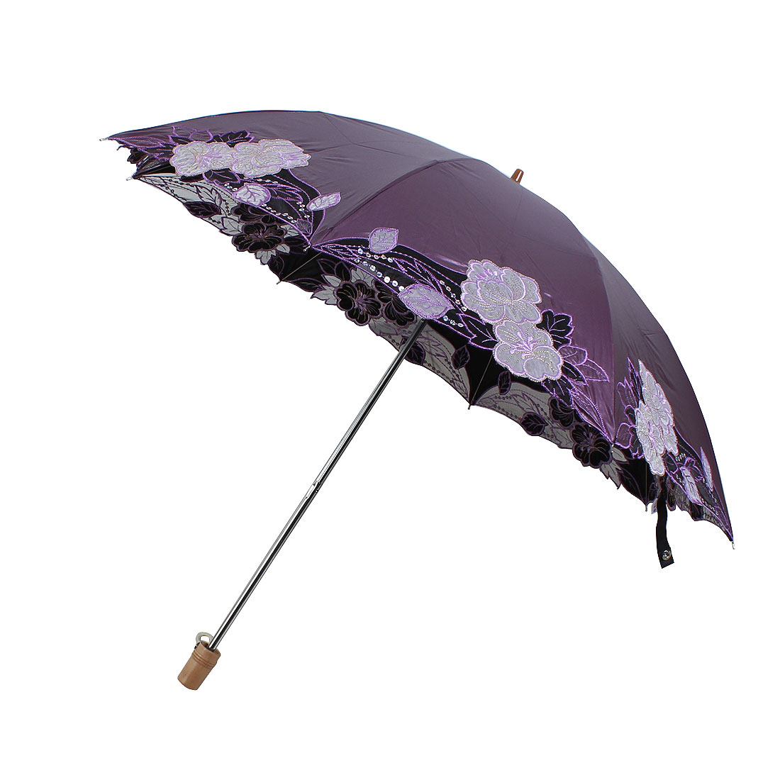 Embroidery Flower Pattern Telescopic Shaft Umbrella 86cm Dia Purple