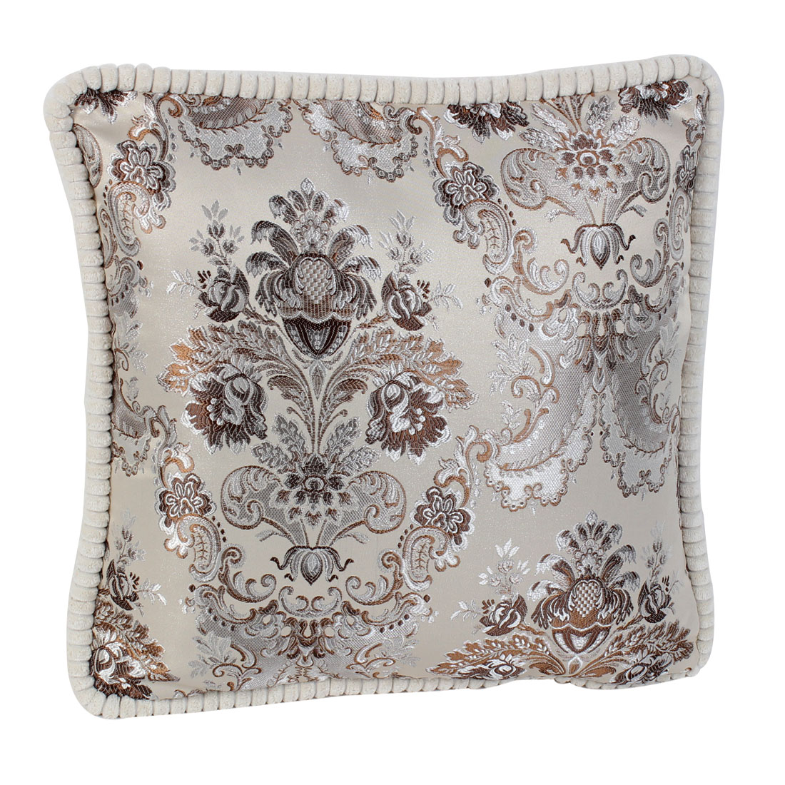 Chenille Flower Embroidery Throw Cushion Pillow 45cm x 45cm Beige