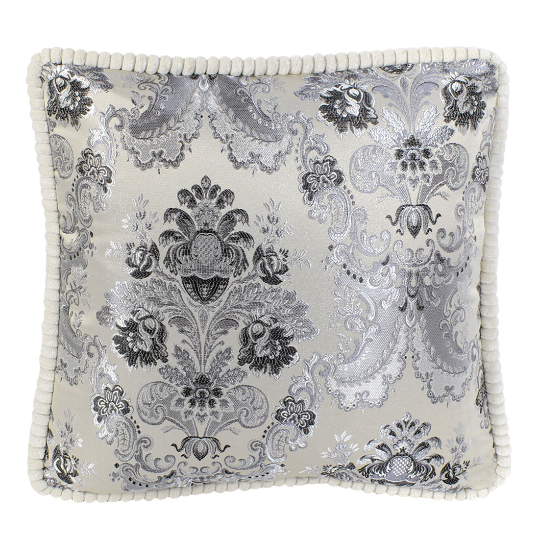 Chenille Floral Embroidery Throw Cushion Pillow 45cm x 45cm Beige