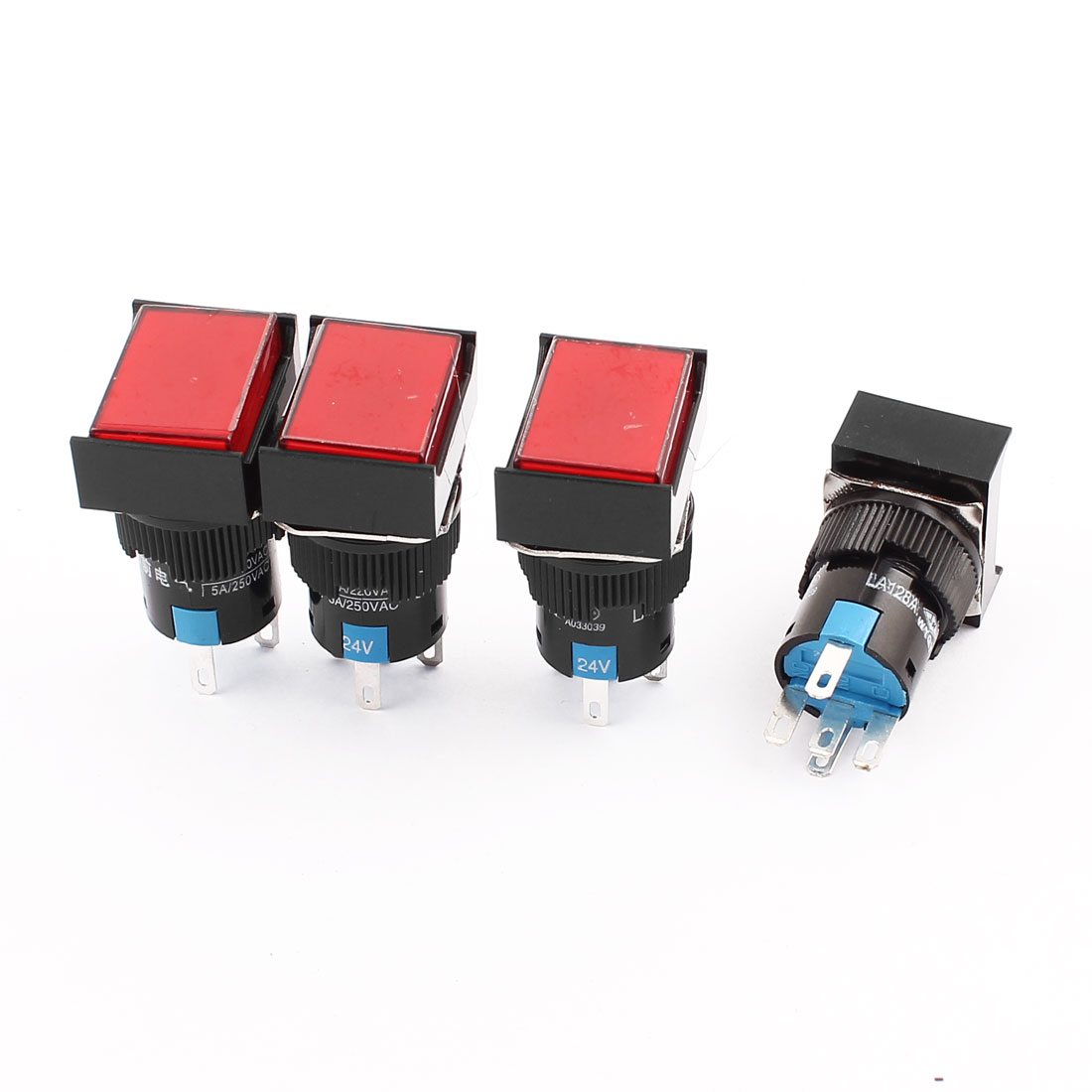 4 Pcs DC 24V Red Lamp Momentary 5 Terminal SPDT NO NC Push Button Switch
