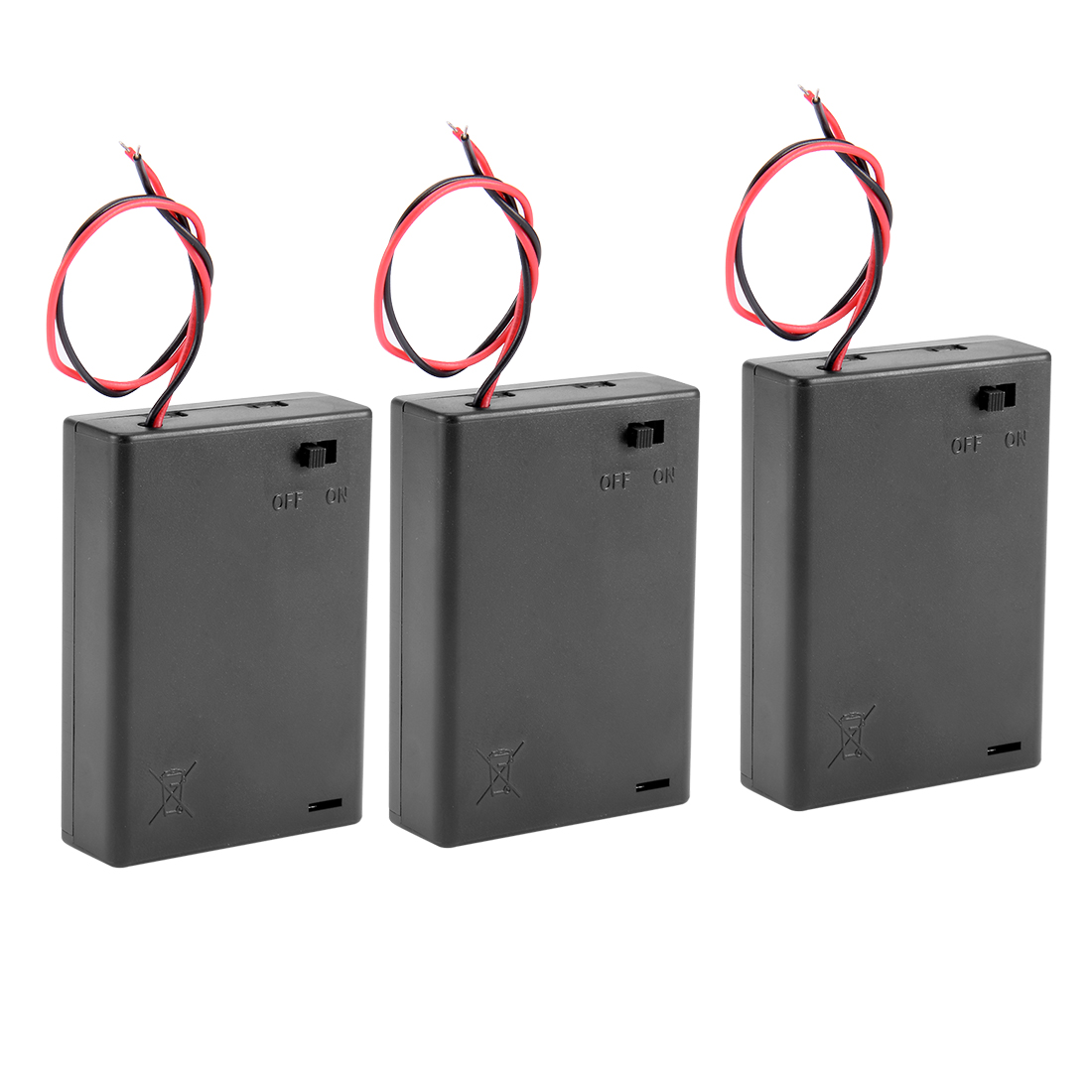 Plastic ON/OFF Switch 2-Wire Leads DC 3 x 4.5V AA Battery Case Holder Box 3Pcs