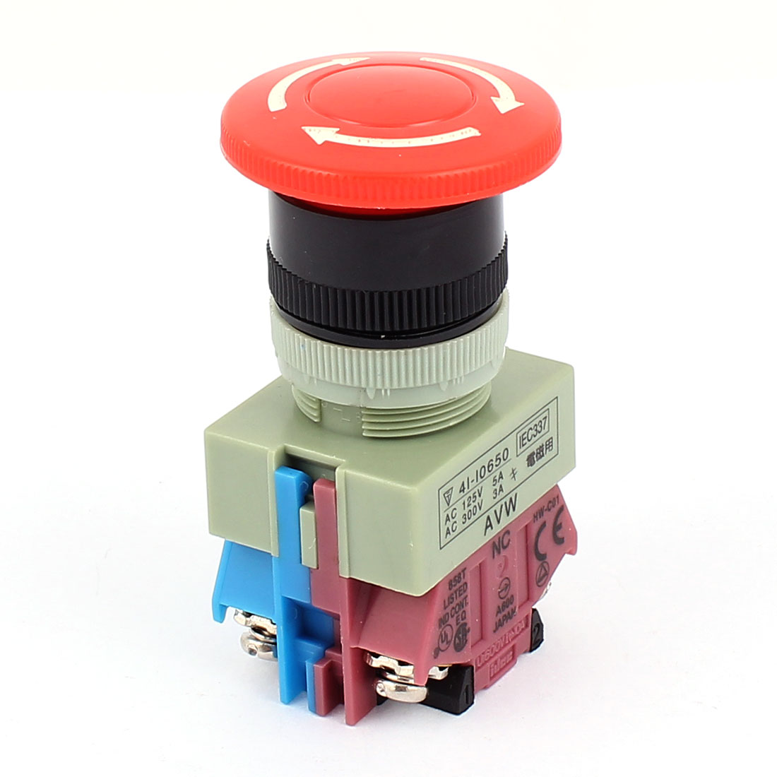 600V 10A DPST 4 Screw Terminals Emergency Stop Mushroom Push Button Switch