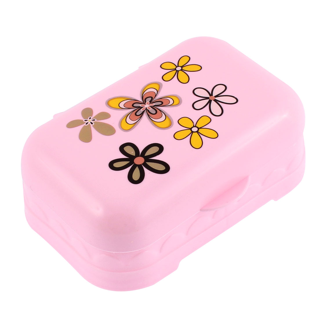 Flower Pattern Cover Soap Dish Box Case Holder Pink