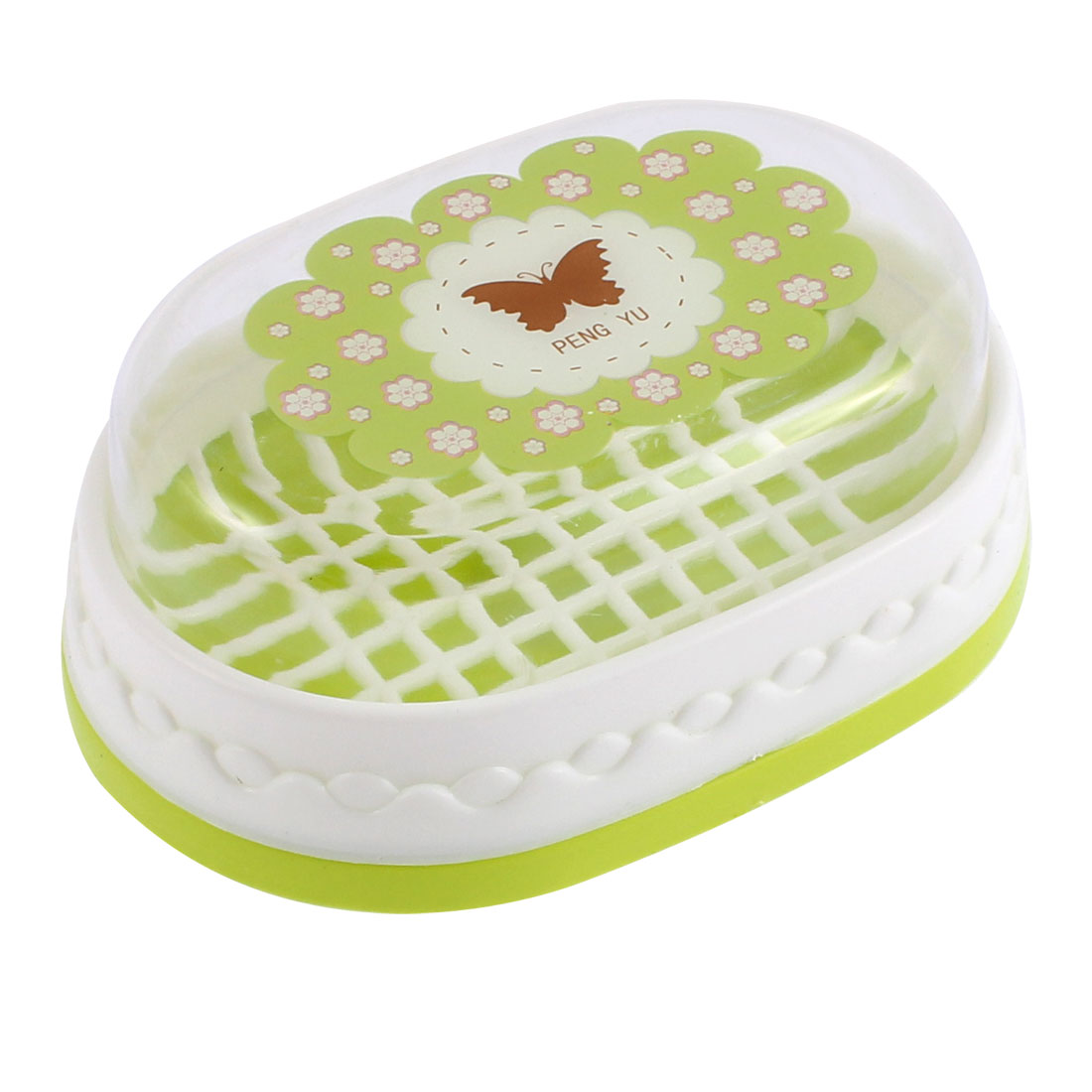 Bathroom Flower Butterfly Printed Soap Dish Case Box Light Green