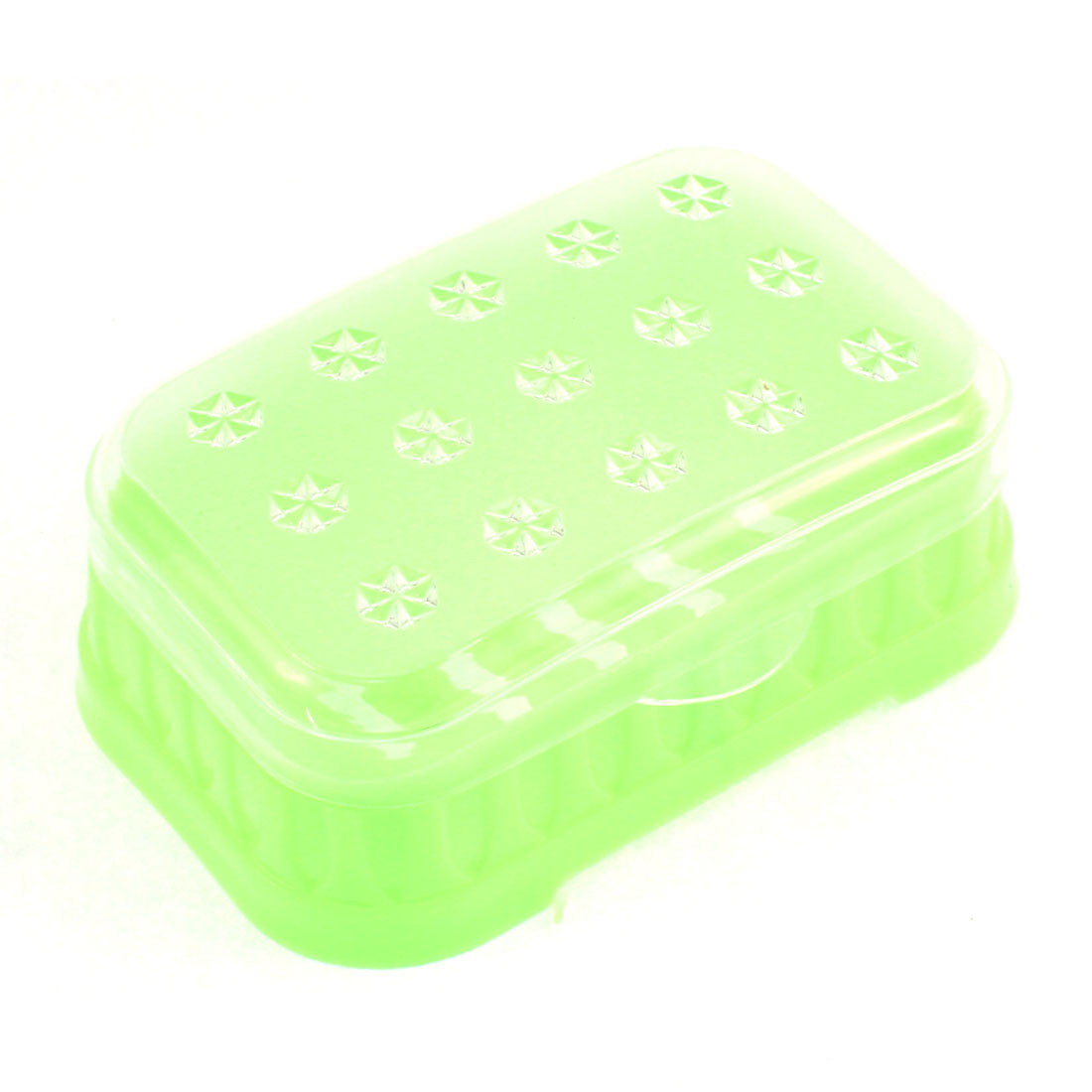 Plastic Flowers Printed Cover Soap Dish Case Box Light Green