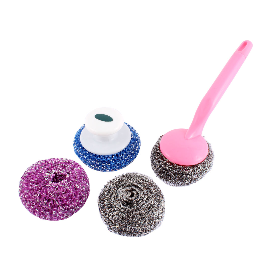 Kitchen Pan Scrub Cleaning Brush Steel Wire Ball Pink Grip 4 in 1