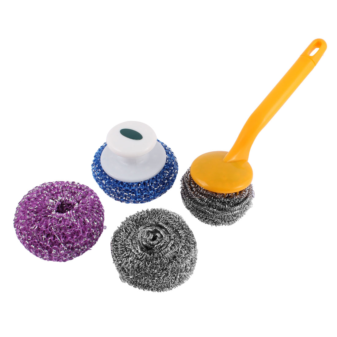 Home Kitchen Pan Pot Scrub Cleaning Brush Steel Wire Ball 4 in 1