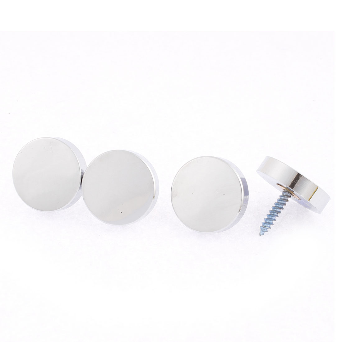 Tea Table Screw Cap Mirror Nails Silver Tone 4mm Thread 4PCS