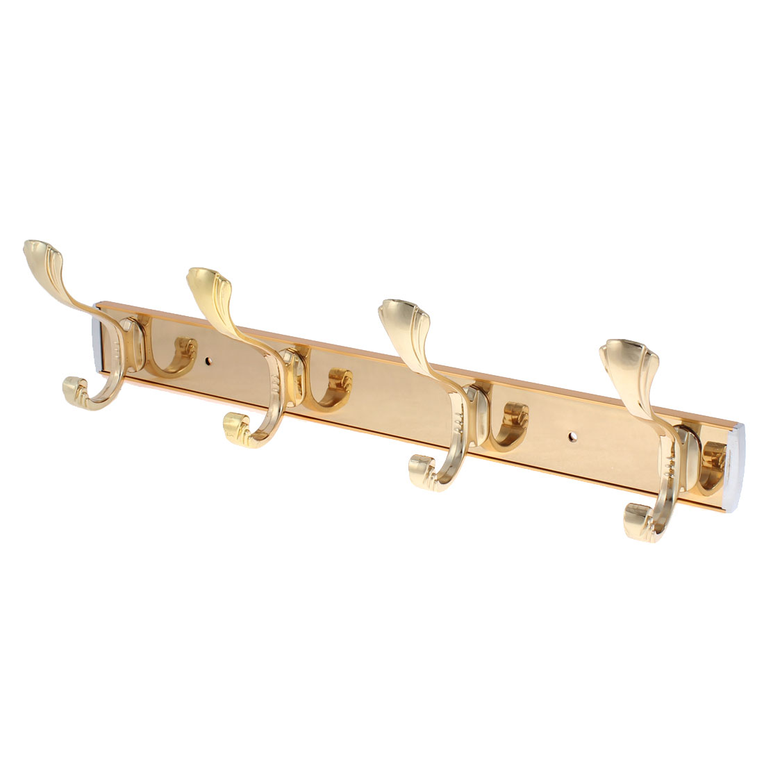 "Coat Hanger Wall Mounted 4 Hooks Rack Gold Tone 15"" Length"