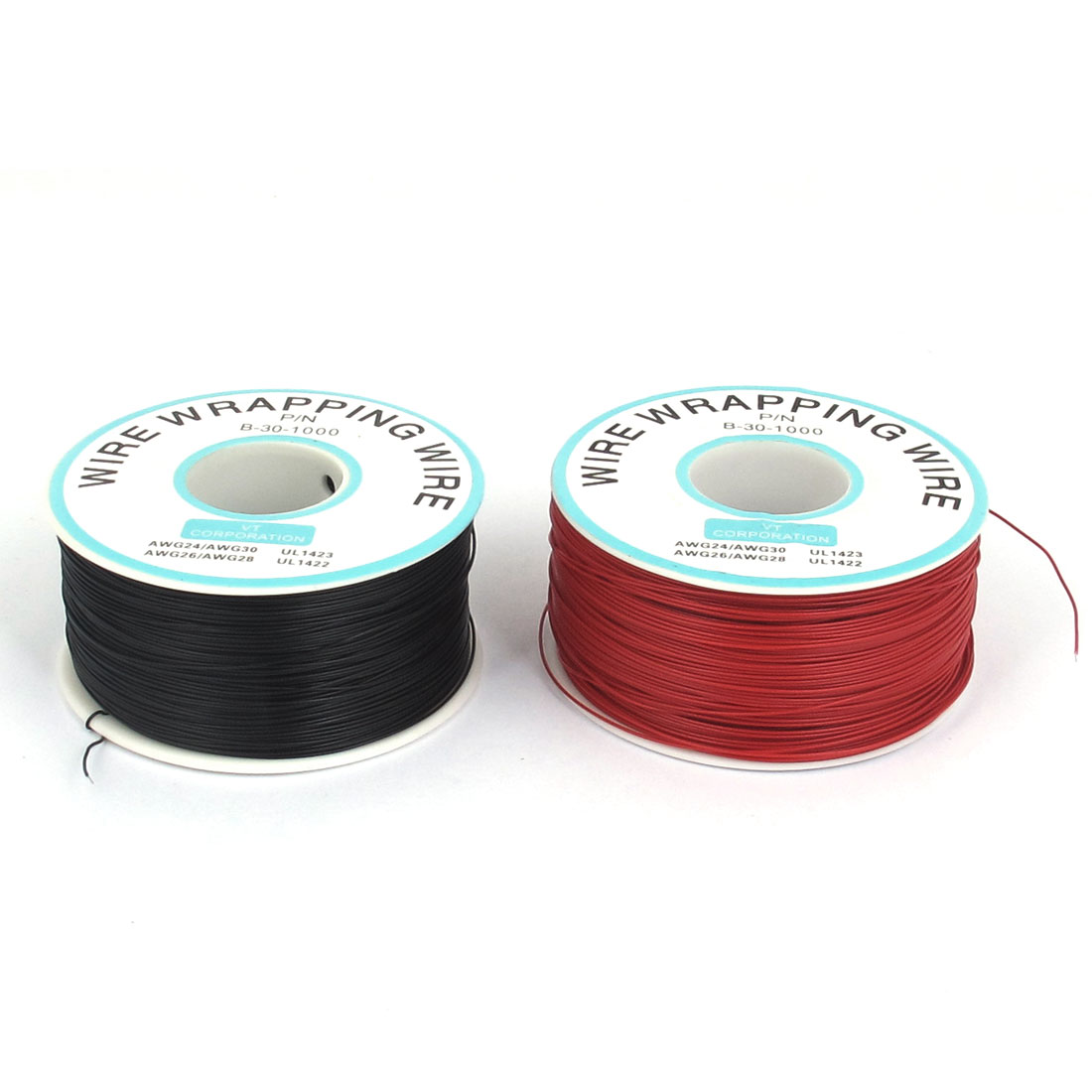 2 Pcs 305M P/N B-30-1000 30AWG PCB Solder Black Red Flexible 0.25mm Dia Copper Tin Plated Wire-Wrapping Wires