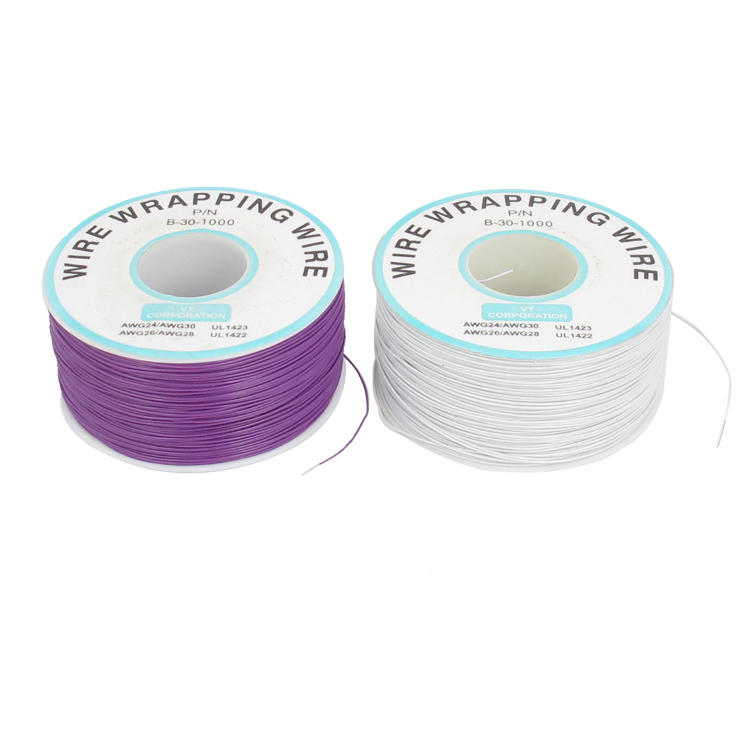 2 Pcs 305M P/N B-30-1000 30AWG PCB Solder White Purple Flexible 0.25mm Dia Copper Tin Plated Wire-Wrapping Wires