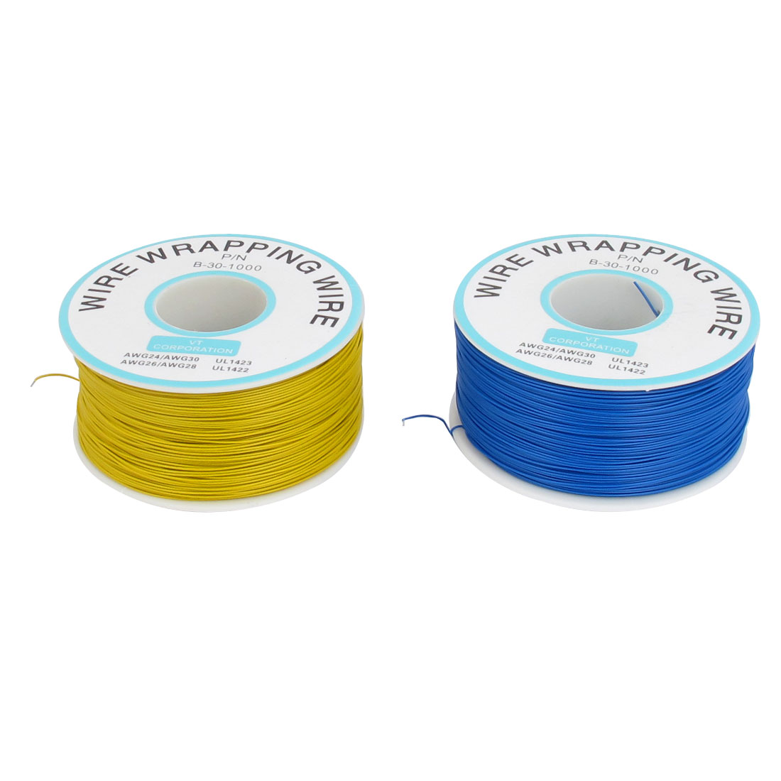 2 Pcs 305M P/N B-30-1000 30AWG PCB Solder Blue Yellow Flexible 0.25mm Dia Copper Tin Plated Wire-Wrapping Wires