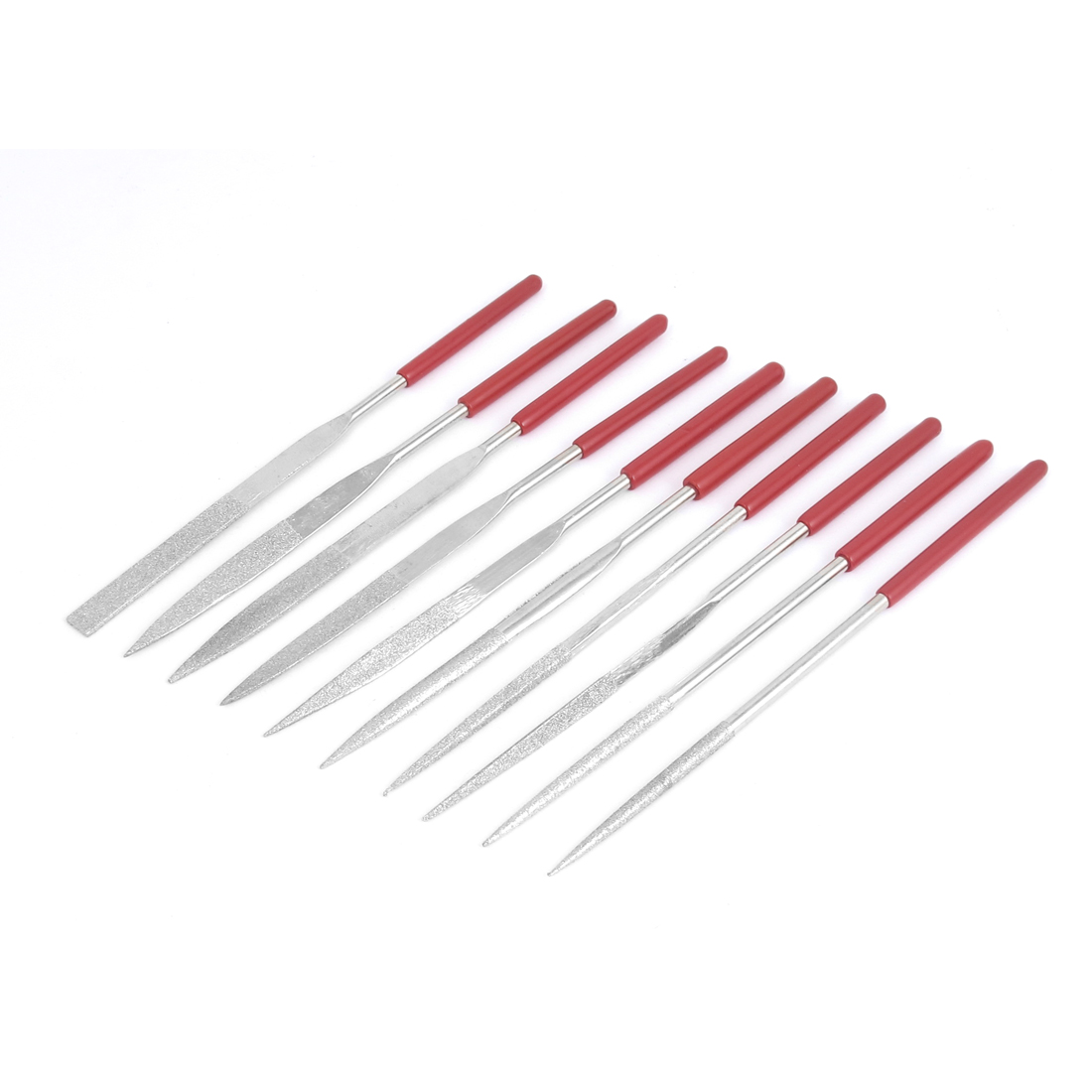 Red Shank Jeweler Ceramic Tool Woodwork Micro Diamond Metal Needle Files Set 160mm Length 10pcs