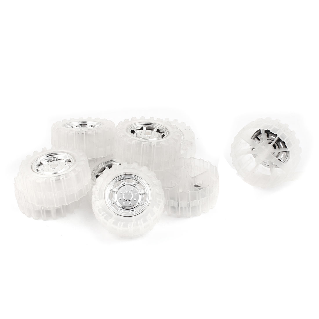10 Pcs RC Toy Car Robot Vehicle Wheel DIY 55mm Diameter Rims Clear