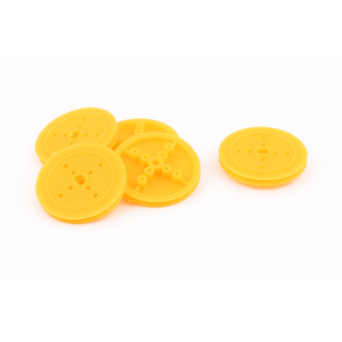 5 Pcs Plastic 36mm Diameter 4mm Thickness DIY Gear Band Pulley Yellow