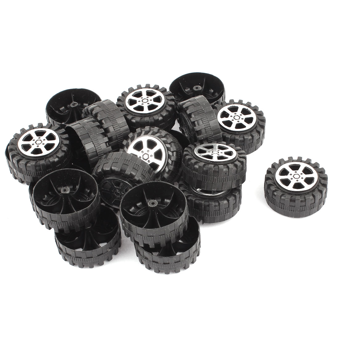20 Pcs Plastic RC Toy Car Robot Vehicle Wheel DIY 42mm Diameter Rims Black