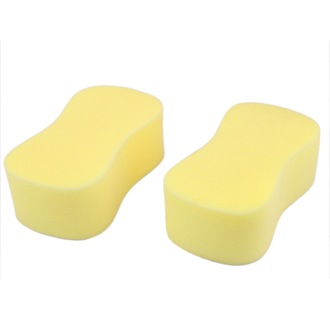 Pore Sponge Pad Car Vehicle Cleaning Tool Washing Brush Yellow 2Pcs