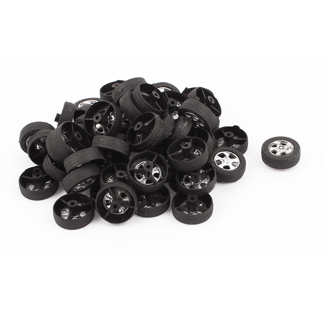 50 Pcs RC Toy Car Robot Vehicle Wheel DIY 19mm Diameter Rims Black