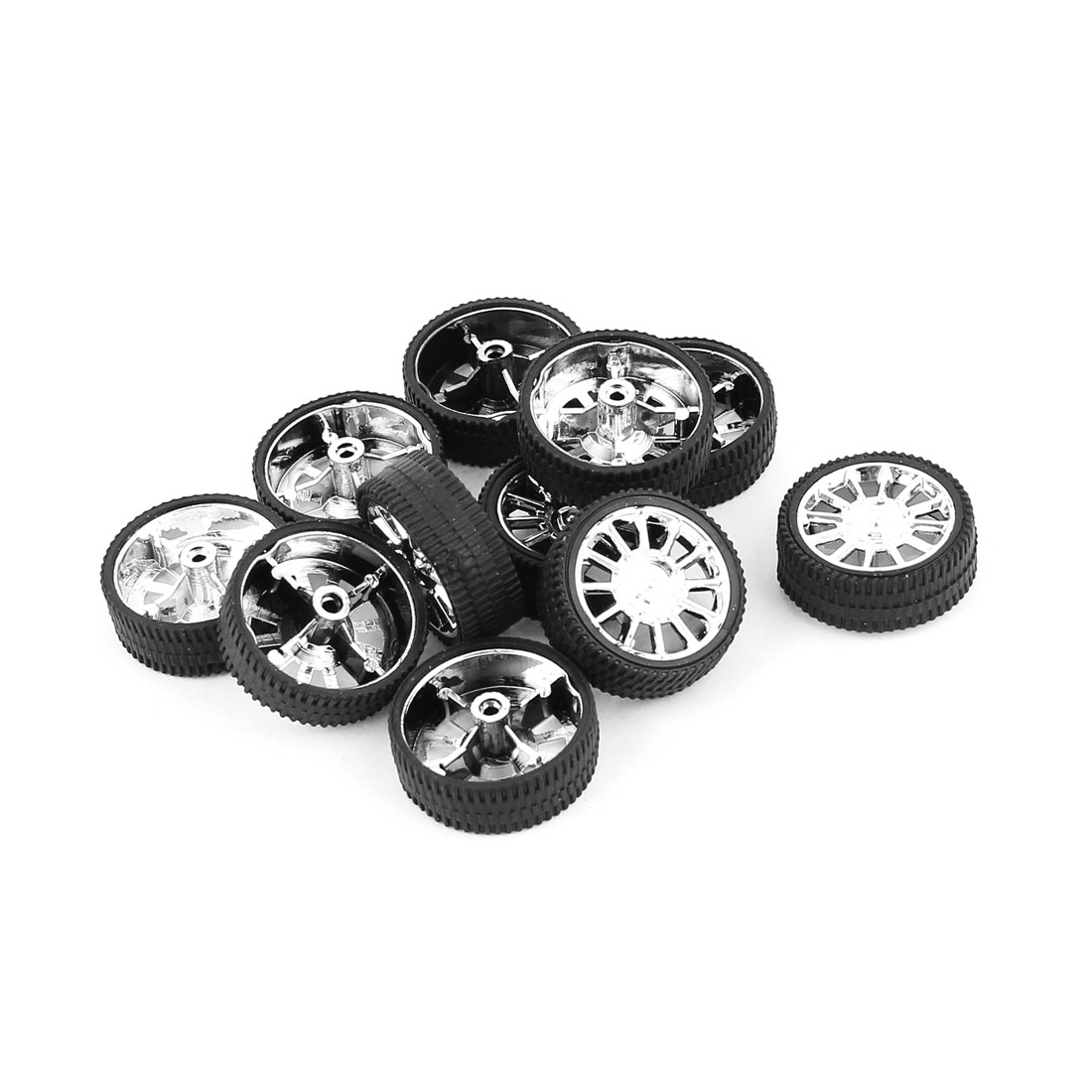 10 Pcs RC Toy Car Robot Vehicle Rubber Cover Wheel DIY 26mm Dia Rims Silver Tone Black