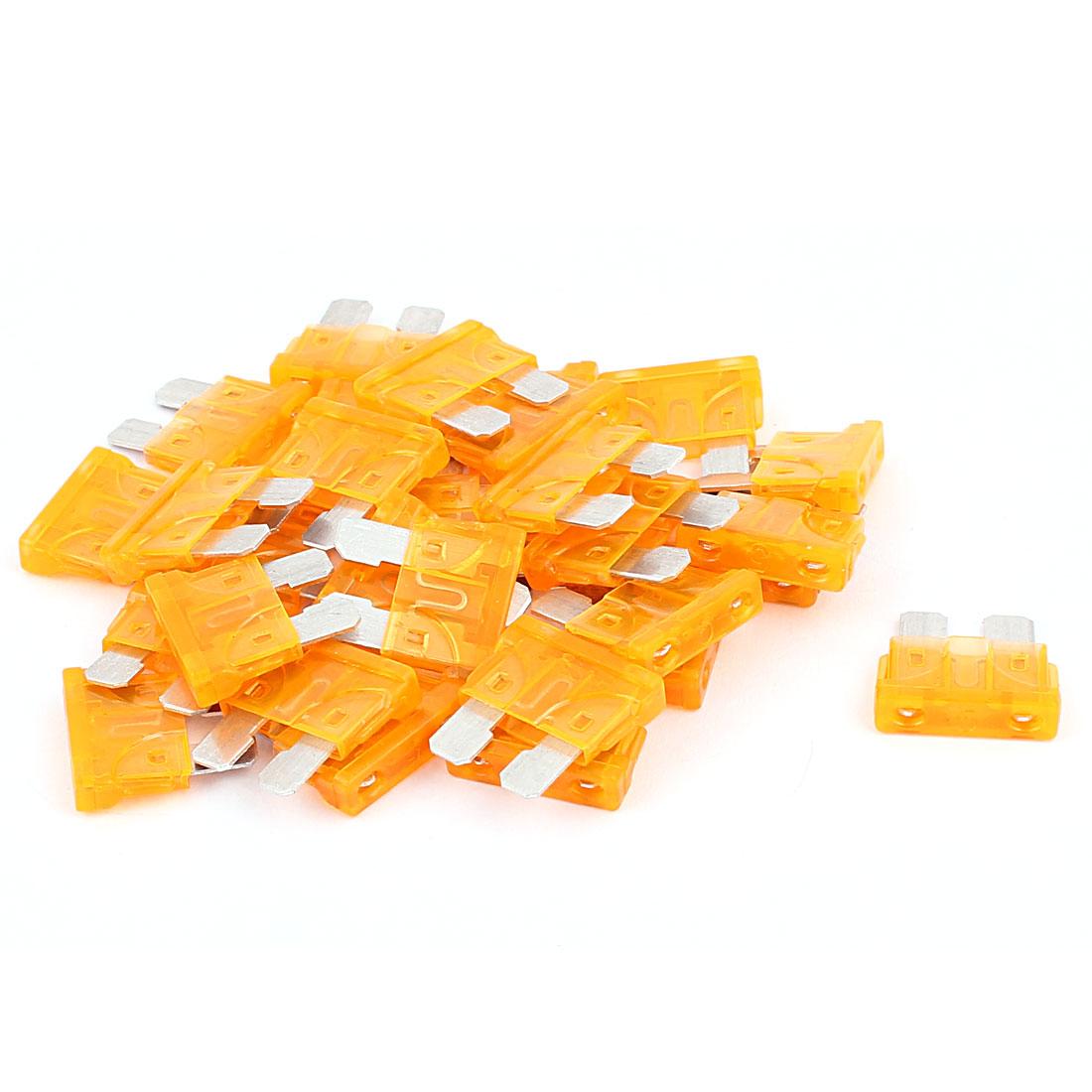 30pcs 5A Orange Plastic Housing Blade Fuse for Auto Car Caravan Truck SUV