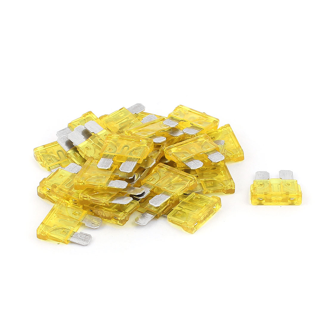 30pcs Yellow 20A Plastic Case Blade Fuse for Auto Car Truck Motorcycle SUV