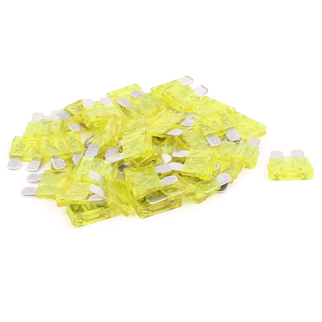 40pcs Yellow 20A Plastic Shell Blade Fuse for Auto Car Truck Motorcycle SUV