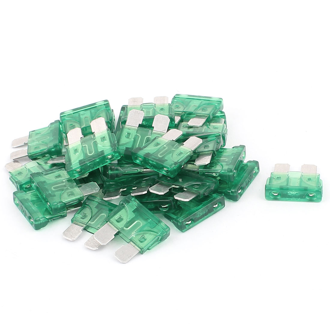30pcs 30A Green Plastic Casing Blade Fuse for Auto Car Truck Motorcycle SUV