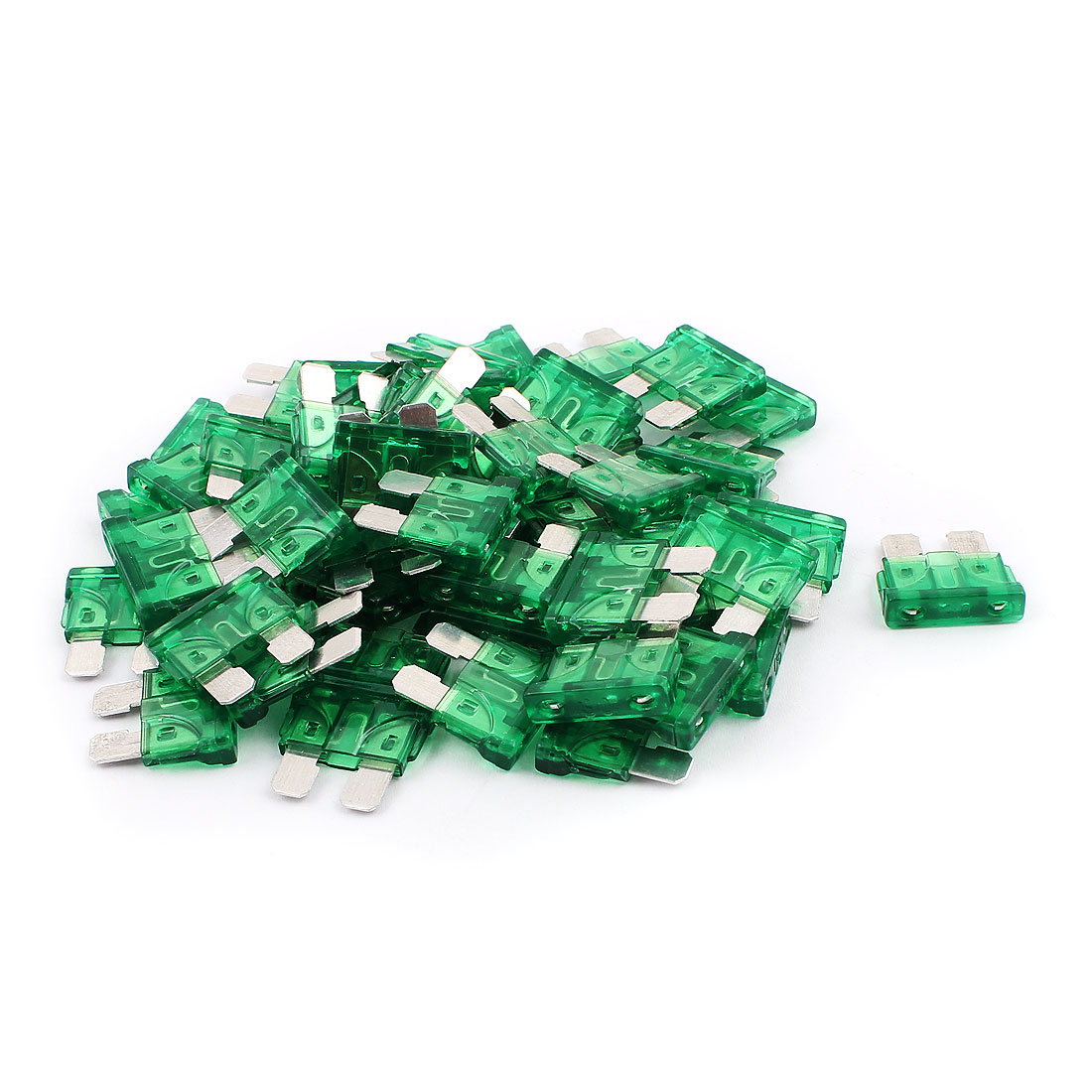 50pcs Mini Automotive Motorcycle Car Truck SUV Boat ATC Blade Fuses 30A Green