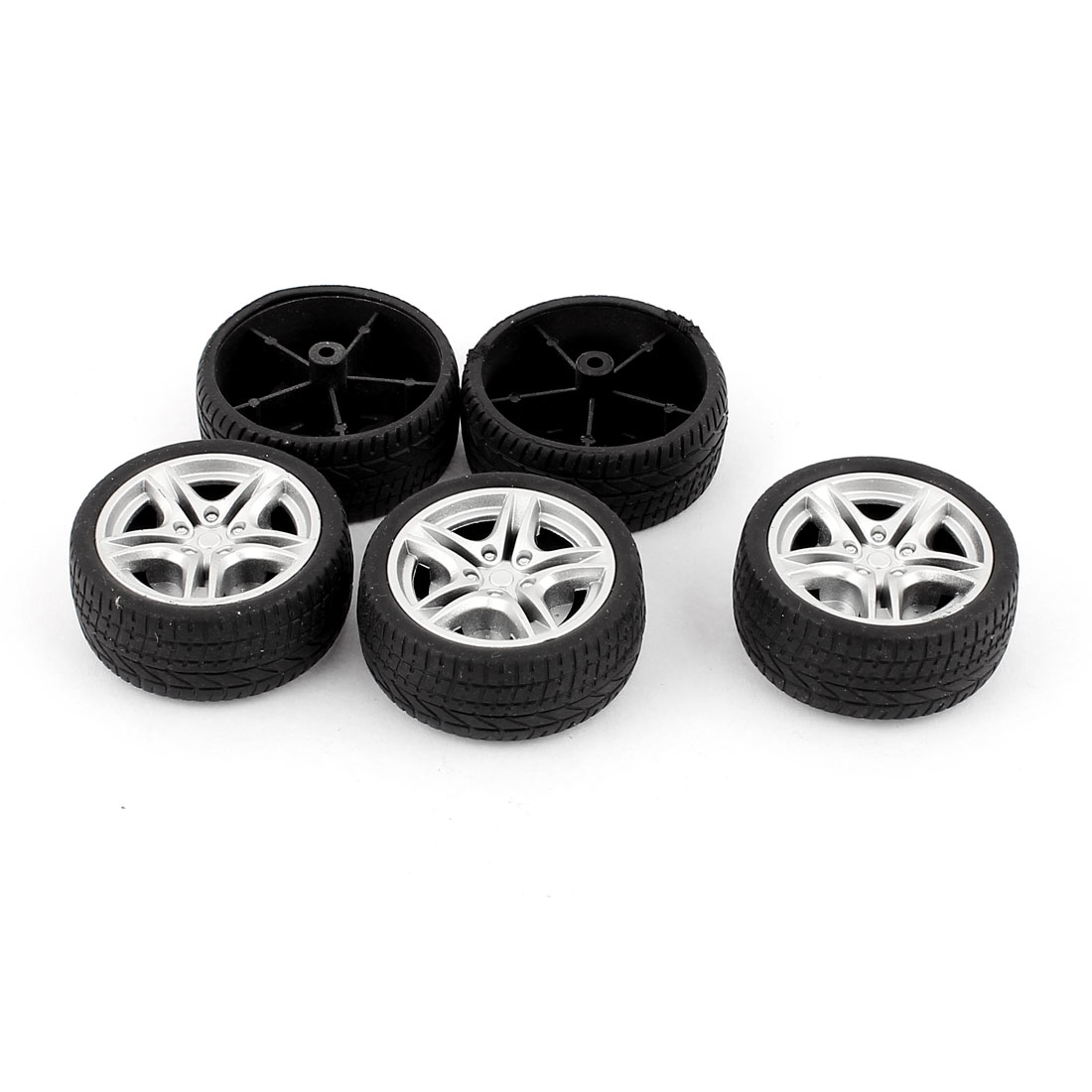 5 Pcs RC Toy Car Robot Vehicle Rubber Cover Wheel DIY 48mm Dia Rims Silver Tone Black