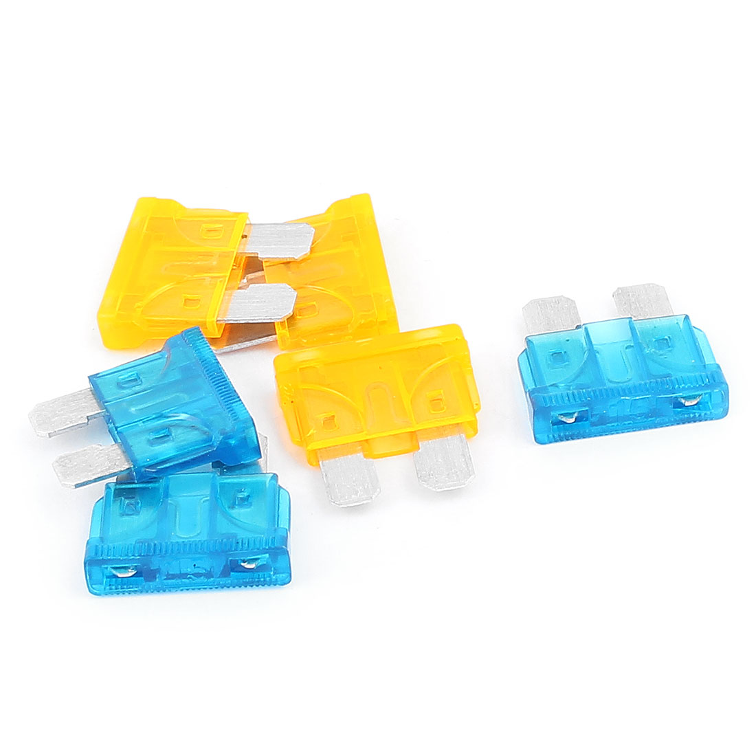 6pcs Blue Orange 15A 5A Plastic Housing ATC ATO Mini Blade Fuses for Car Caravan Truck Auto