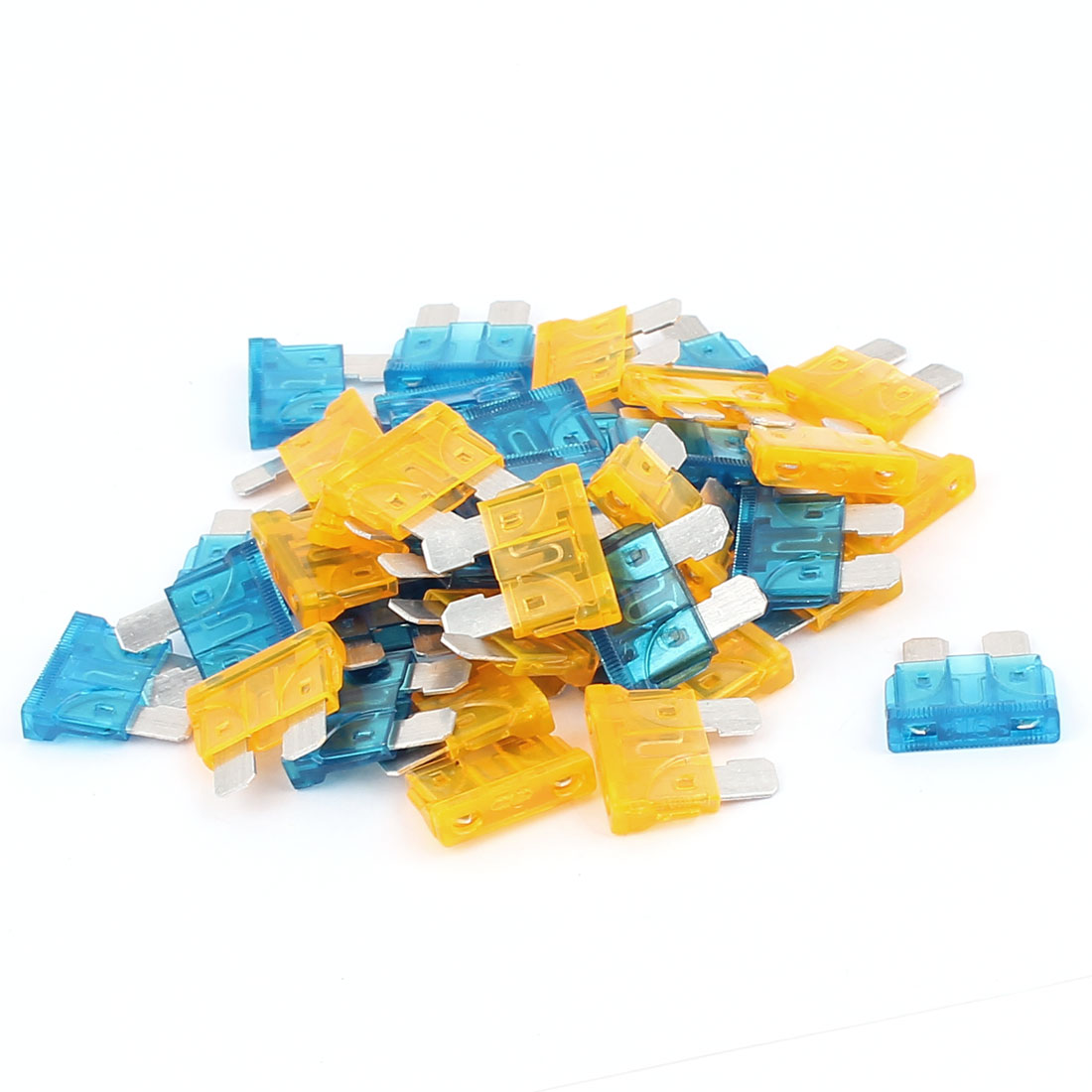 40pcs Motorbike Automotive Car Caravan Truck ATC ATO Mini Blade Fuses 15A 5A Blue Orange