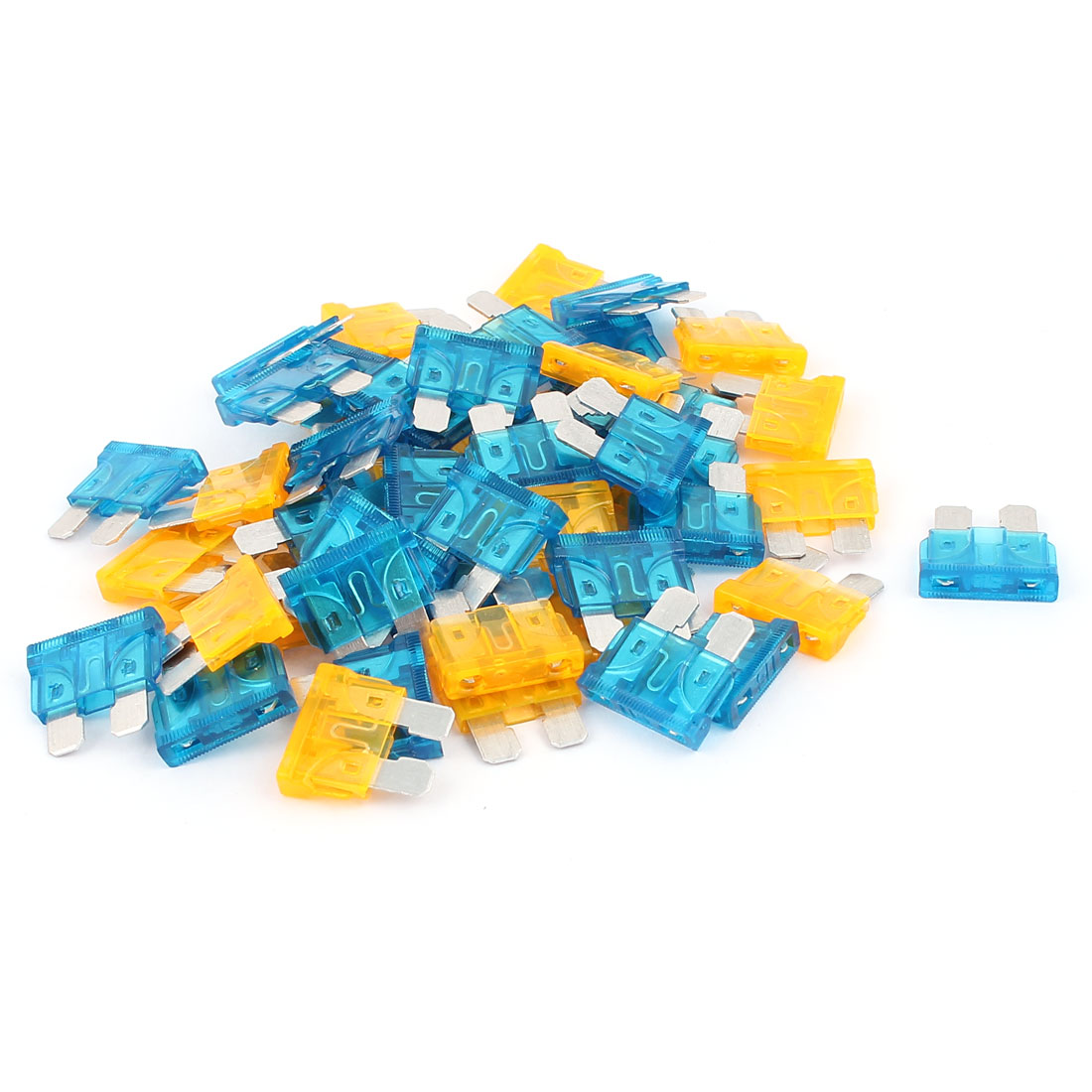 50pcs Motorbike Automotive Car Caravan Truck Vehicle Mini Blade Fuses 15A 5A Blue Orange